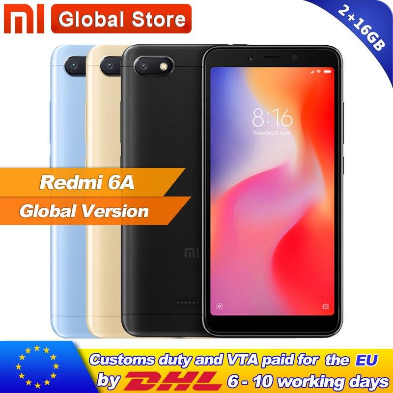 Global Version Xiaomi Redmi 6A 2GB RAM 16GB ROM A22 Redmi 6A Mobile Phone 13 0