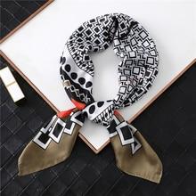 Designer 2019 Women Silk Neck Scarf Geometric Print Square Scarfs for Ladies Foulard Headwear Female Hand Bag Scarves Tie