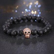 2019 Men Bracelets Skull Micro inlay zircon  Natural Stone bead Buddha