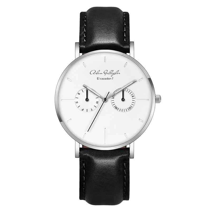 Для мужчин s часы бренд класса люкс Ultra Slim кварцевые часы для мужчин 2017 Бизнес кожаный ремешок модные наручные часы adam gallagher