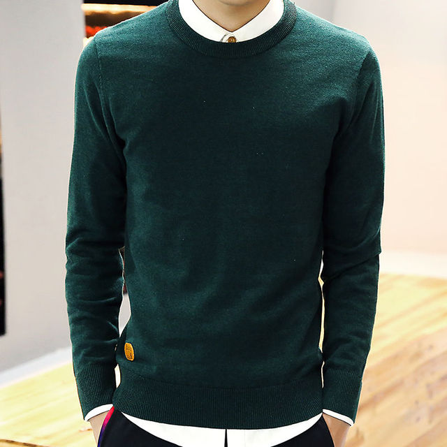 9 Color,New Sweater Men Pullover Solid O Neck Long Sleeve Men's ...