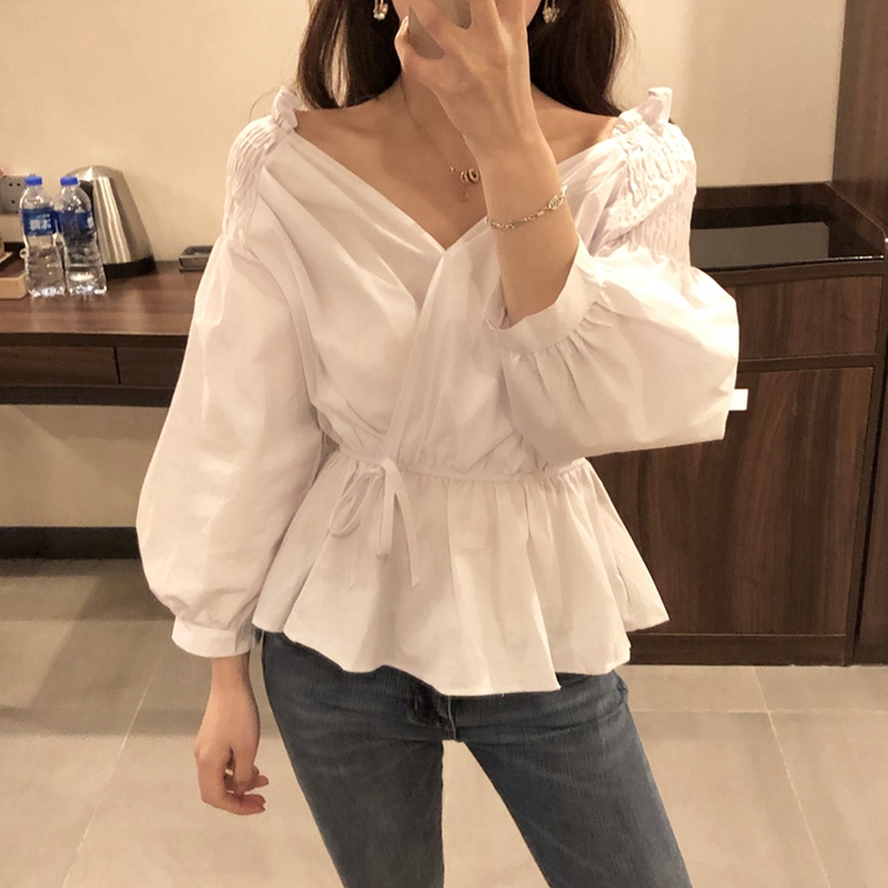 2019 Fashion Casual Autumn Blouse Women Bandage Shits Femme Loose V-neck Puff Sleeve Solid Color Waist White Shirt Women New Plus Size Blouse