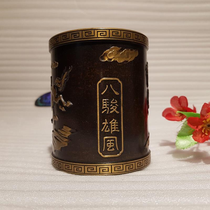 Vintage Chinese style bronze pen holder (7)