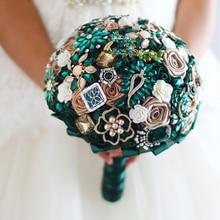 8 inch New Emerald green & Gold bridal brooch bouquet ,  Wedding  Bride 's Bouquet, Rhinestone Jewelry bridal brooch bouquets
