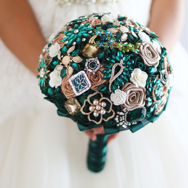 8 Inch New Emerald Green Gold Bridal Brooch Bouquet Wedding Bride S