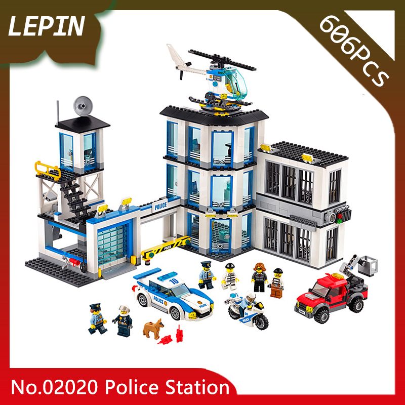 Lepin 02020 New Police Station Model CITY Series 606Pcs Building Blocks Set Bricks Children For Toys Gifts 60141 Doinbby Store lepin 02006 815pcs city series police sea prison island model building blocks bricks toys for children gift 60130