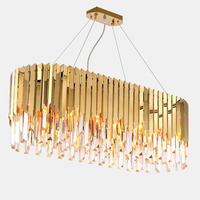 luxury modern LED crystal chandelier stainless steel + crystal creative metal rectangular crystal chandelier