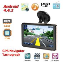 Android 4.4 7 inch GPS Navigation Touch Screen 800*480 Pixels Built-in Microphone Bluetooth WiFi AV-IN Sat Nav Car DVR Recorder samkoon sk 070as touch screen 7 inch ethernet 800 480 hmi new in box