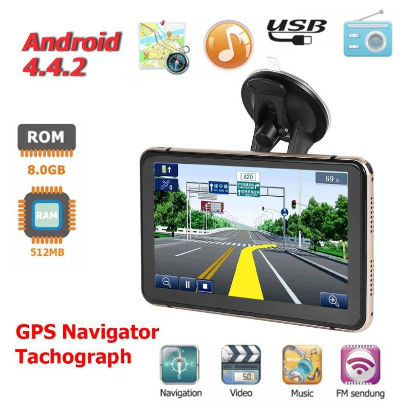 Android 4.4 7 inch GPS Navigation Touch Screen 800*480 Pixels Built-in Microphone Bluetooth WiFi AV-IN Sat Nav Car DVR Recorder