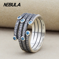 Genuine 925 Sterling Silver Shimmering Ocean Frosty Mint Clear CZ Ring Compatible With Pandora Ring Original