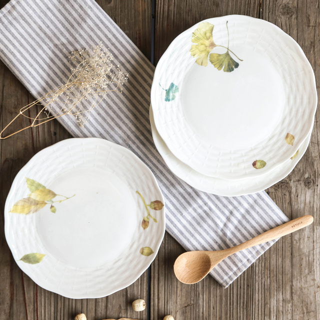 Omi Irregular 8-Inch Dinner Plates Set of 5 Autumn Leaves Design : 8 inch dinner plates - pezcame.com