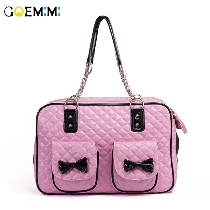 New Arrival Pet Dog Carrier Pink Color Bow Design puppy Pu OutDoor Shoulder Bag Top Quality