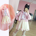Japanese Harajuku Wings Embroidery Heart Shape Pocket Short Jacket Loose Cute Outwear Pink & Black