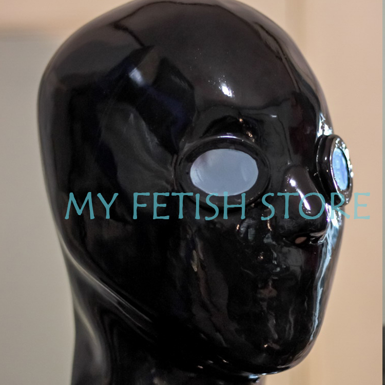 (DM872)100% natural full head human face latex mask rubber hood with eyes lenses  suffocate Mask fetish wear