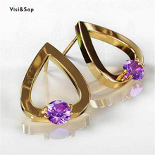 Visisap Yellow gold color large hollow heart earrings for women purple zircon stud earring dropshipping jewelry wholesale E086