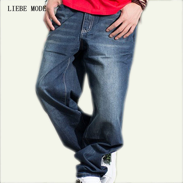 Hombre suelta Hip Hop pantalones vaqueros para hombres recto ajuste  relajado skate pantalones Hiphop Vaqueros Hombre 78d015ab5ad