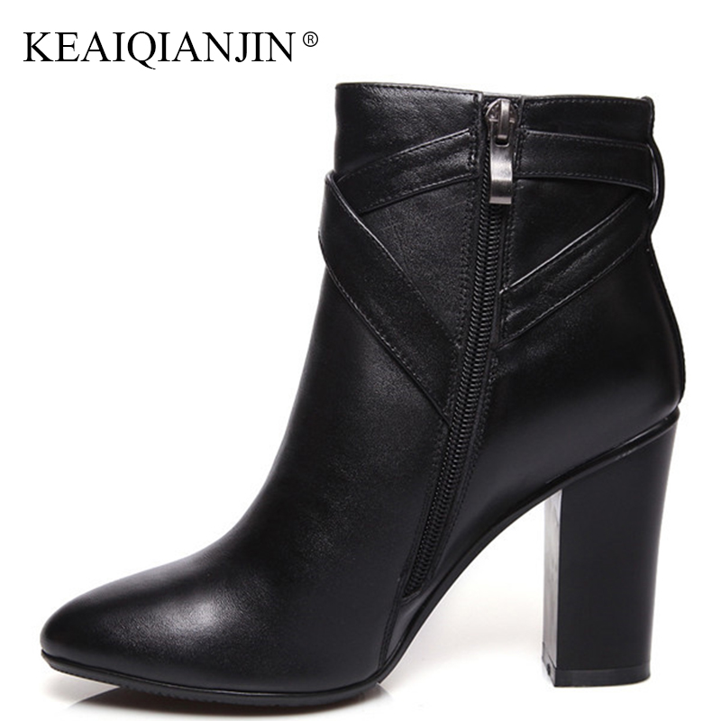 KEAIQIANJIN Woman Genuine Leather Martens Boots Fashion Black High Heeled Shoes Autumn Winter White Pointed Toe Ankle Boots 2018 keaiqianjin woman pointed toe ankle boots black autumn winter genuine leather shoes fashion metal decoration chelsea boots 2017