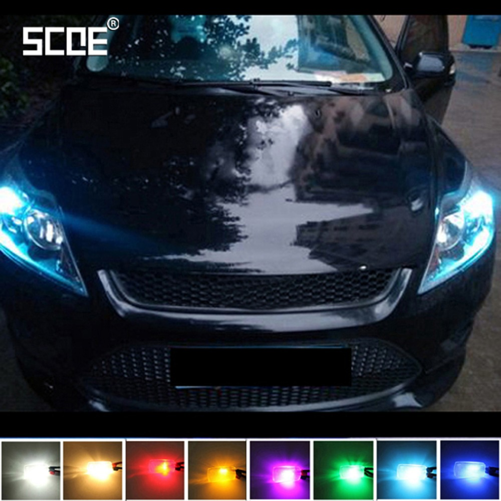 SCOE 2X LED For Ford Focus 2 3 4 1 Fiesta Fusion Purple Green 12SMD Parking