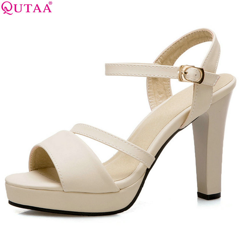 QUTAA 2018 Women Pumps Pu Leather Fashion Women Shoes Round Toe Square High Heel Platform All Match Women Pumps Size 34-43 fashion ultra high heel dress shoes women stiletto heel platform round toe pure black can match any situation
