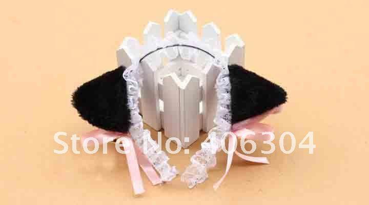 Для взрослых и детей, для костюмированной вечеринки; цвет черный, белый, розовый; кошка neko Ушная повязка на голову в виде животного с колокольчиком горничная Лолита кружевной ободок вечерние украшения