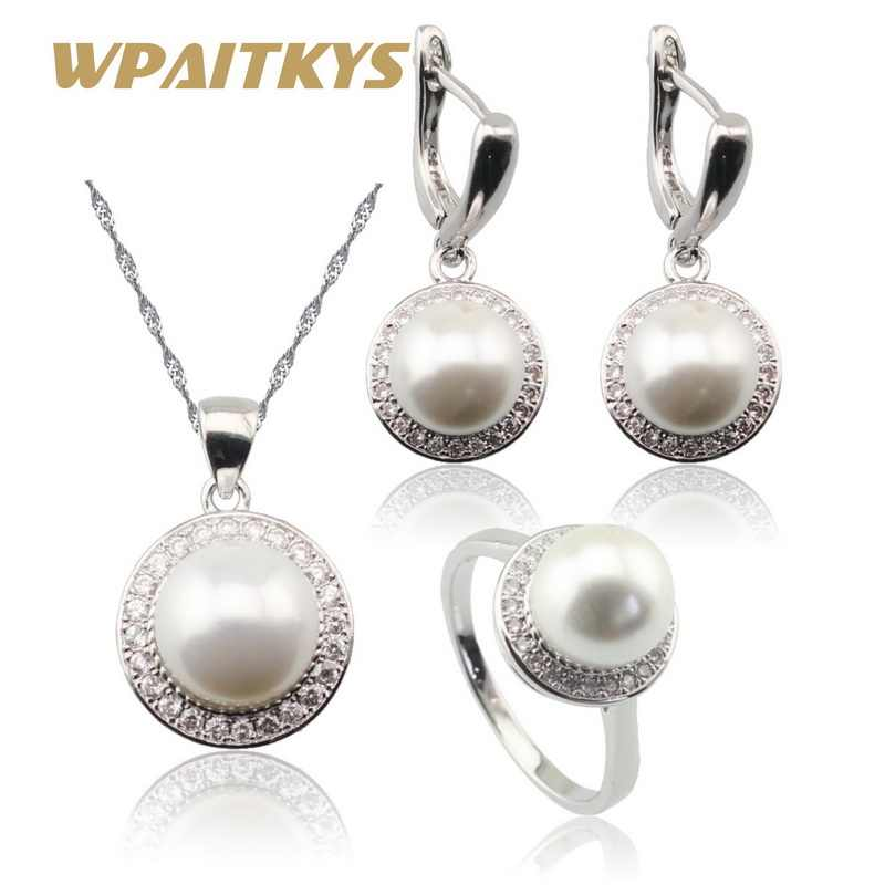 Round White Freshwater Pearl Silver 925 Jewelry Sets For Women Necklace Pendant Drop Earrings Rings Free Gift Box