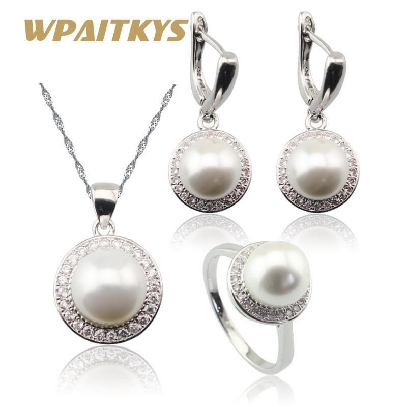 Round White Freshwater Pearl Silver Color Jewelry Sets For Women Necklace Pendant Drop Earrings Rings Free Gift Box