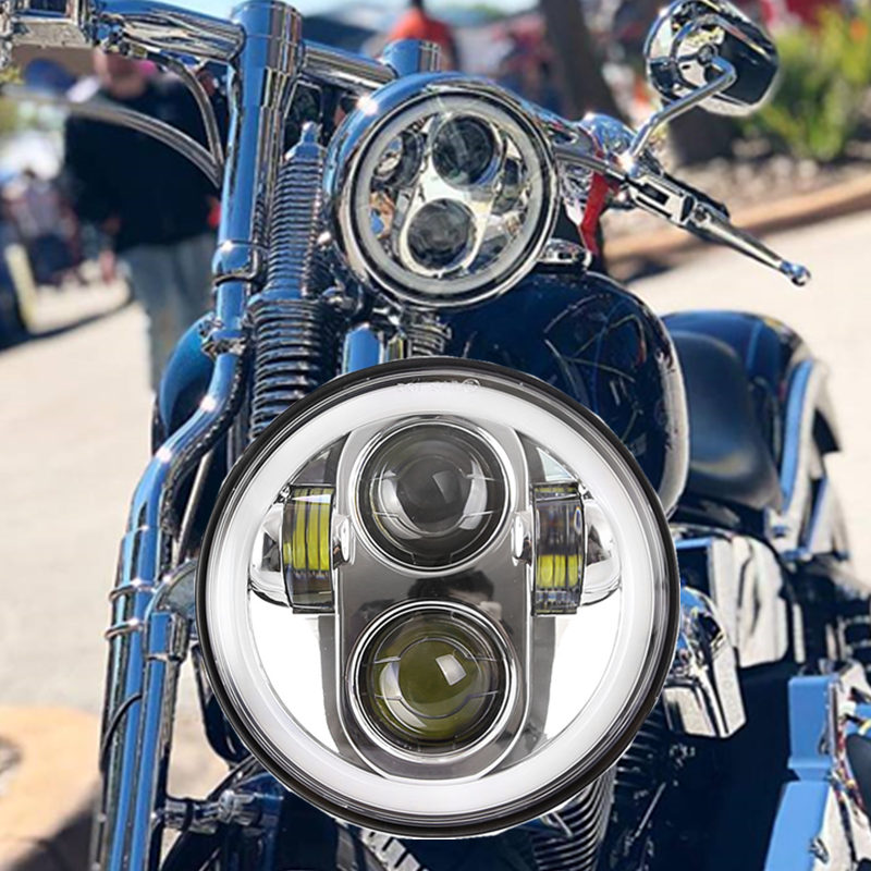 5 3/4 5.75 Inch 40W LED Headlights White Color Angel eye DRL Hi/Lo Beam For Motorcycle