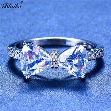 d55a1e7bb234 Blaike 925 Filled de cuatro garras anillo de arco para las mujeres lindo  Cubic Zirconia joyería de moda regalo Birthstone