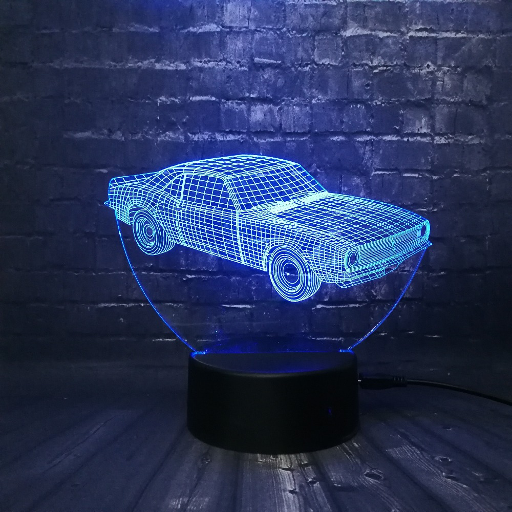 Hot SALE Cuba Retro Animation Cool Car 3D USB LED Lamp Car-Styling - Night Lights - Photo 3
