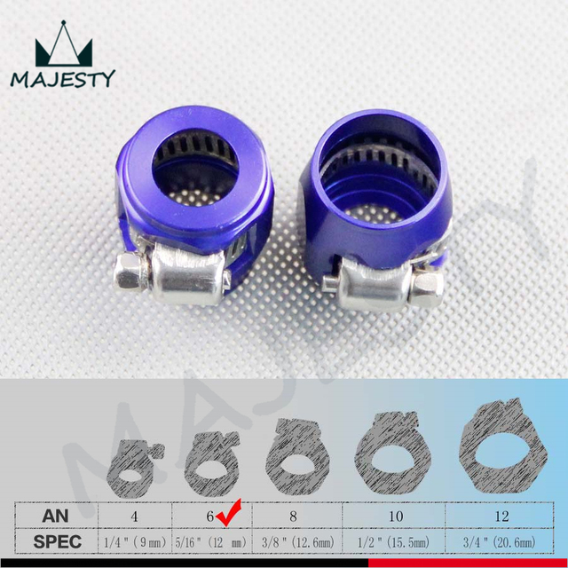 2pcs 6AN AN 6 16mm ID Fuel Hose Line End Cover Clamp Finisher Fitting Blue