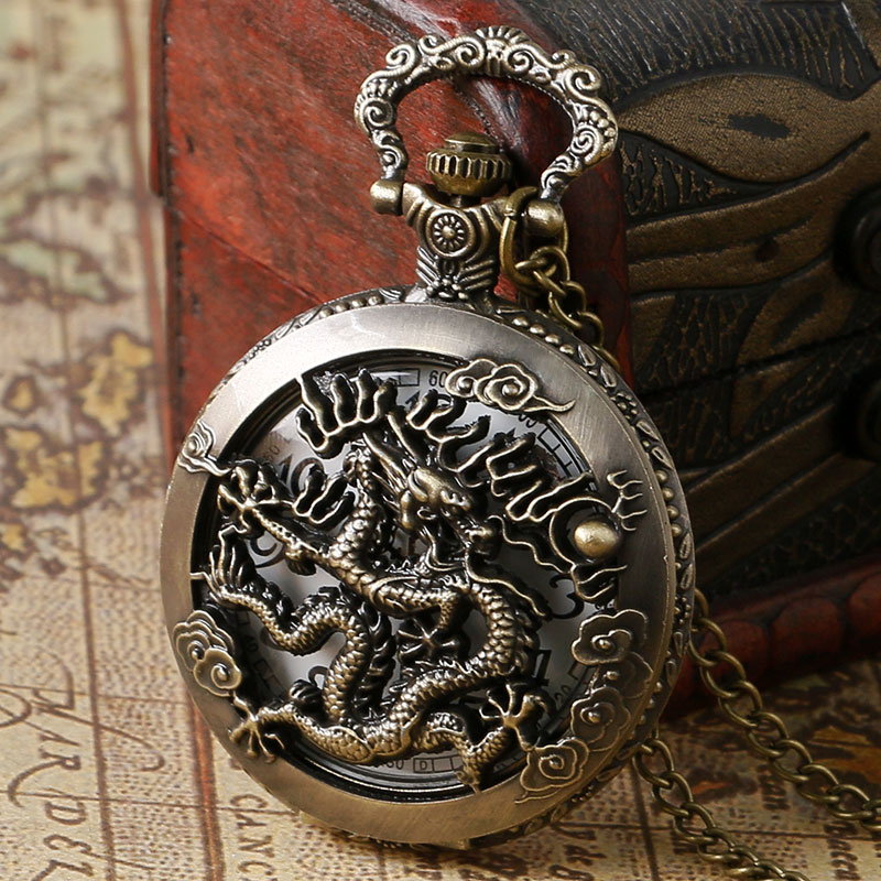 Vintage Bronze Chinese Dragon Hollow Case Design Quartz Fob Pocket Watch With Necklace Chain Free Shipping bronze quartz pocket watch old antique superman design high quality with necklace chain for gift item free shipping