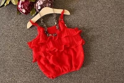 Girls chiffon dress 2016 summer new temperament snow spins condole belt unlined upper garment lantern baby pants suit
