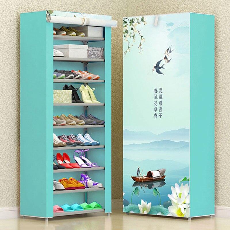 Fashion Modern Multi-layer DIY Combination Shoe Cabinet Home Dustproof Cloth Storage Shoes Rack Folding Shoe Organizer Furniture