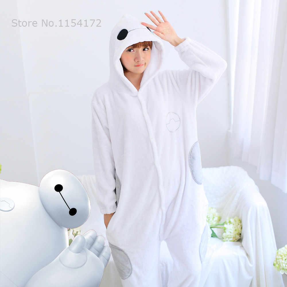 Горячая мультфильм большой герой Косплей Хэллоуин вечерние костюмы пижамы с животными фланелевые пижамы комбинезоны для взрослых Baymax Пижама Kigurumi