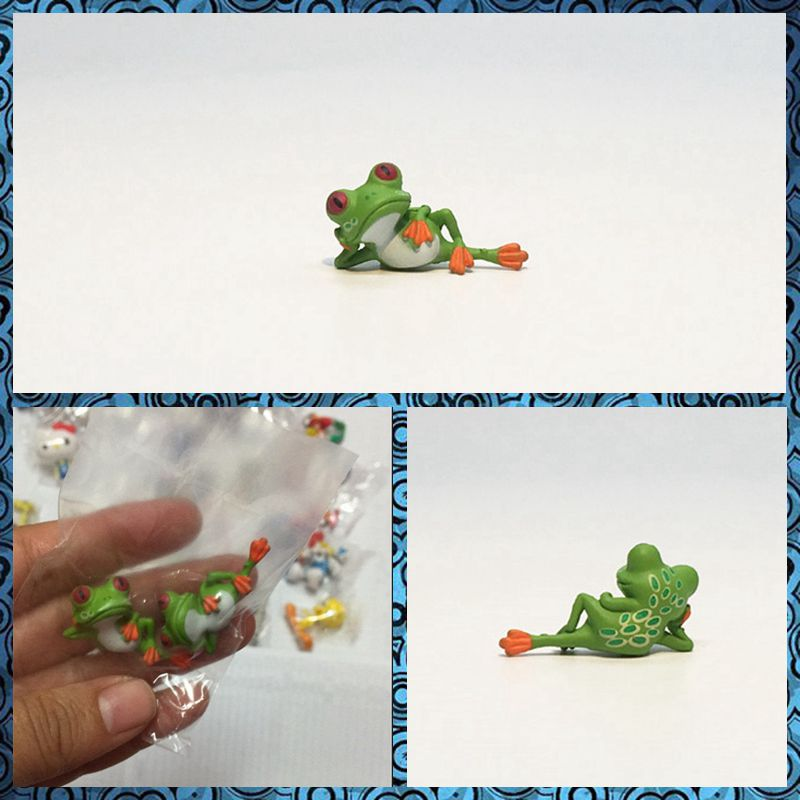 Free shipping 2pcs/lot Funny Lazy Frog Mini Figures PVC animal toy cake car party office home succulent plant decoration gifts