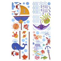 Underwater World Height Measure wall stickers for kids rooms Kids Growth Chart wall decal