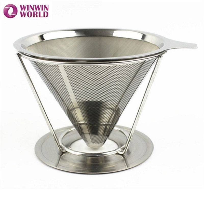 2Cup New arrival Paperless Pour Over Coffee Dripper Stainless Steel Reusable Coffee Filter with holder 2pcs WW-FE072
