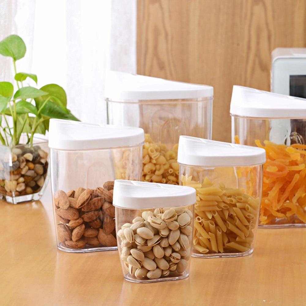 5Piece Locking Clear Acrylic Plastic Food Storage Jars