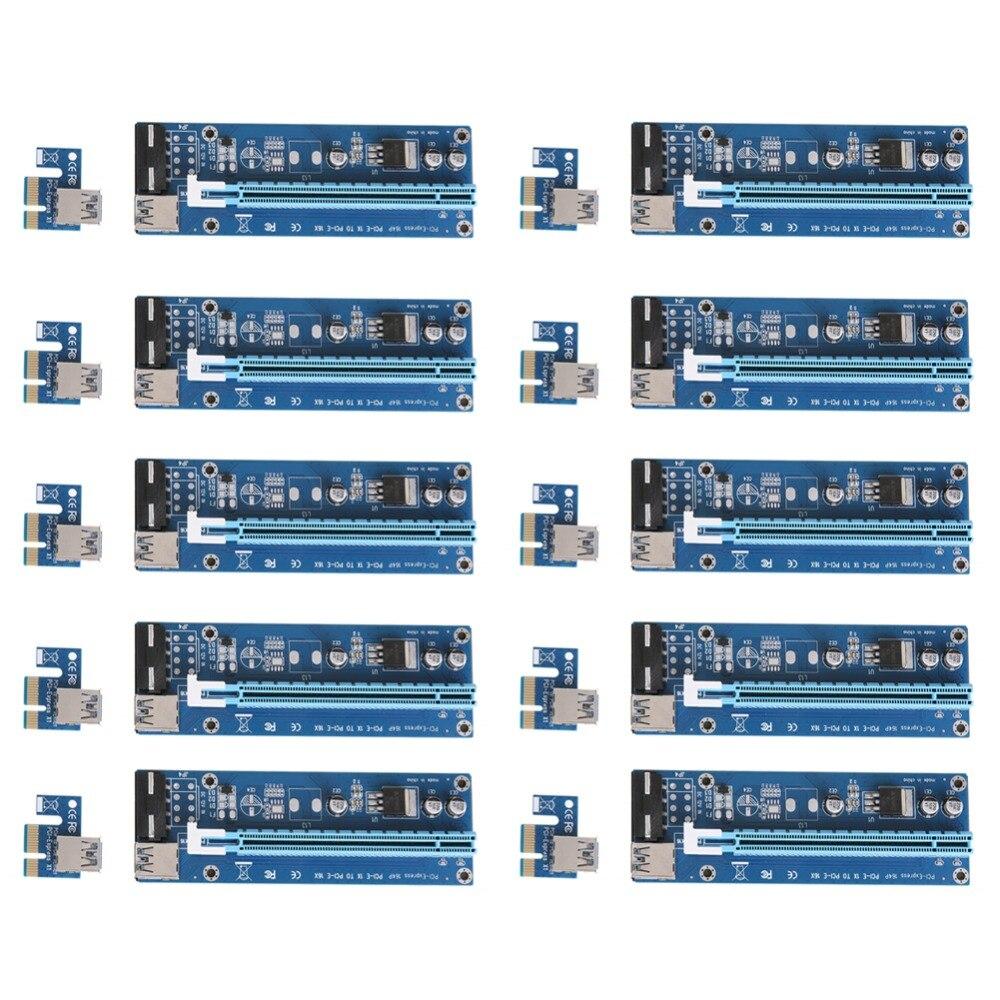 bilder für 10 stücke PCI-E Express Powered Riser Card 1X zu 16X Extender Riser karte 4 Pin USB3.0-Kabel/SATA Power Interface Für Bergbau Bitcoin