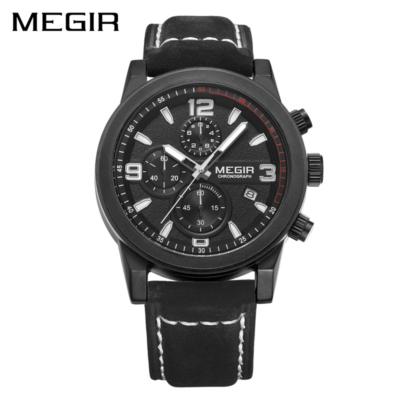 MEGIR Fashion Sport Watch Luxury Brand Leather Men Quartz Watches Chronogragph Clock Men Army Military Wrist Watch 2026 for Male genuine curren brand design leather military men cool fashion clock sport male gift wrist quartz business water resistant watch