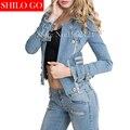 Бесплатная доставка 2016 осень новая мода высокого качества женщин Европейский Sexy локомотив металлическая застежка-молния короткий параграф джинсовый жакет & XL
