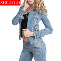 Free shipping 2016 autumn new fashion women high quality European Sexy locomotive metal zipper short paragraph denim jacket & XL