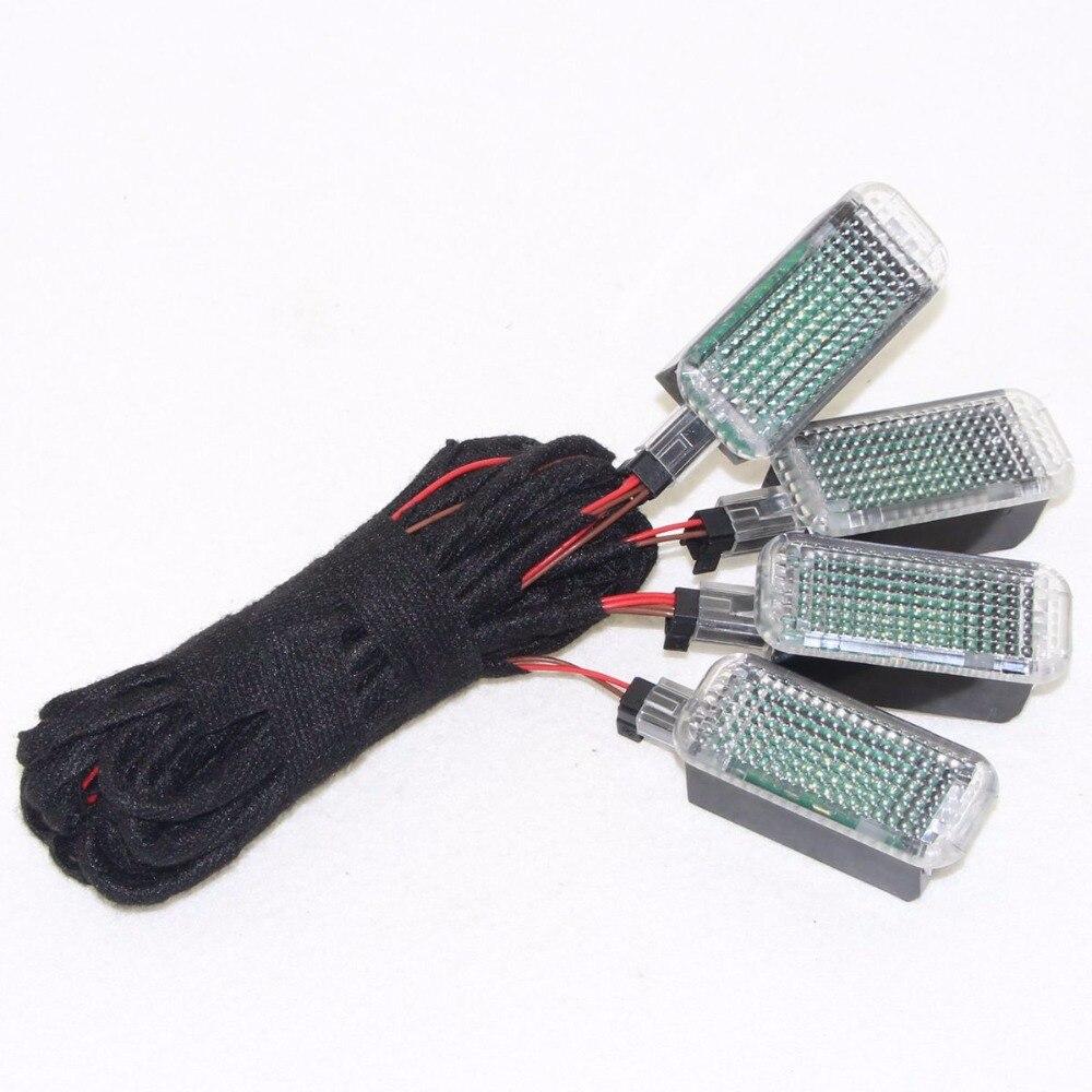 4 PZ LED Interni Luci Vano Piedi e Cavi Per Golf Jetta MK5 MK6 Passat B6 Octavia Seat Leon A5 A6 A7 A8 3AD 947 409