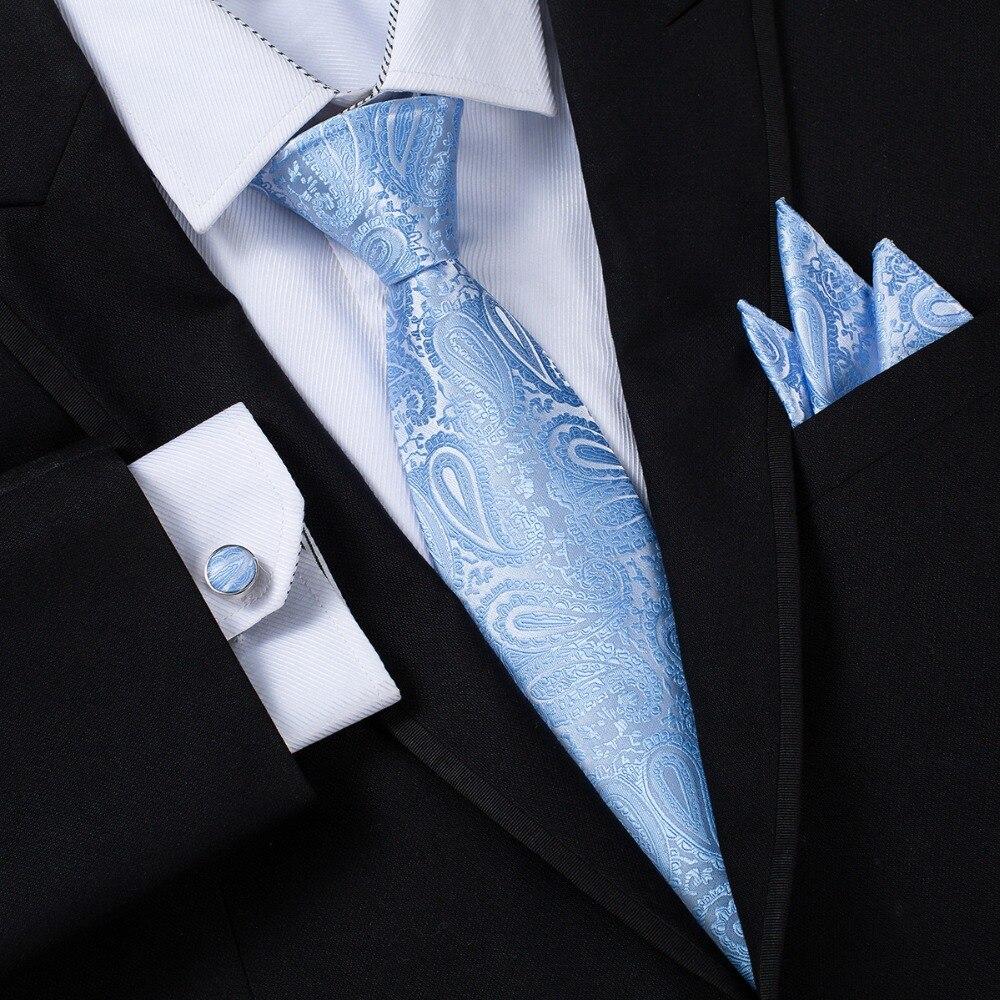 Ikepeibao personalizado azul lazos para hombre pañuelo gemelos conjunto corbata  Paisley corbatas Corbata a rayas para b84318950966