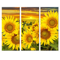 Hot Canvas Printed Sunflower Wall Painting Art Poster Modular Picture for Living Room Canvas Painting Art Works Unframed 3pcs