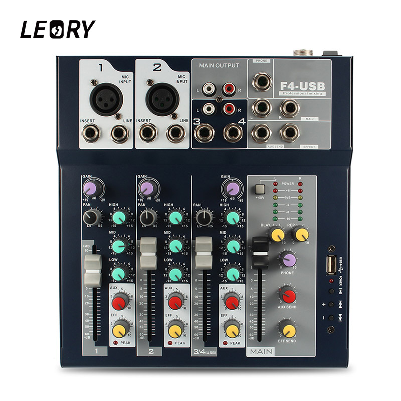LEORY Professional Stage 4 Channel Karaoke Sound Mixer Microphone DJ Audio Mixing Console Amplifier With USB 48V Phantom Power leory professional 4 channel karaoke audio mixer amplifier mini microphone sound mixing console with usb 48v phantom power