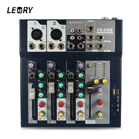 LEORY Professional Stage 4 Channel Karaoke Sound Mixer Microphone DJ Audio Mixing Console Amplifier With USB 48V Phantom Power