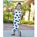 Vestido de las muchachas Del Verano Vestidos de Manga Corta para Bebés de Algodón Nuevos Niños de la Ropa Del Patrón Del Gato Camisa de Vestir Casuales Ropa de Los Niños
