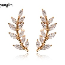 High quality white cubic zircon gold plated ear cuff earrings for women bijoux new trendy jewelry wholesale flower leaf design