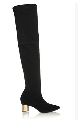 Women Autumn Winter Thick High Heel Genuine Leather Pointed Toe Fashion Over The Knee Boots Size 35-38 SXQ0826 autumn winter women thin high heel genuine leather side zipper pointed toe fashion over the knee boots size 33 40 sxq0818